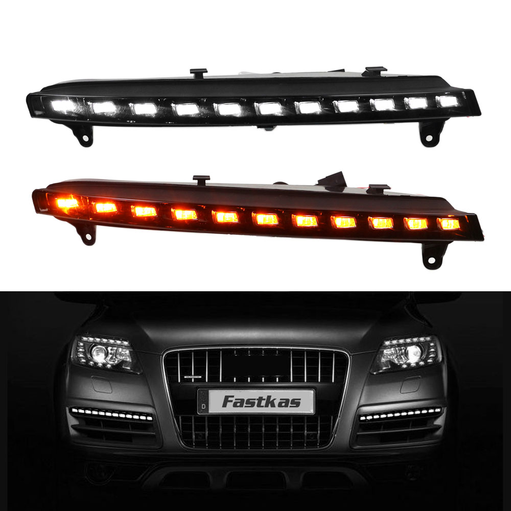 DRL Daytime Running Light for Audi Q7 2006 2007 2008 2009 Left Right side White DRL and Yellow Signal Light купить ауди q 5 2009