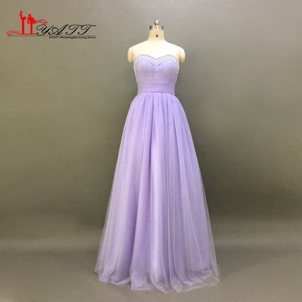 Robe de baile Chérie Perles Perles Décolleté Lavande Robes de Demoiselle D'honneur A-ligne Tulle Lace Up Paillettes Perles Liyatt