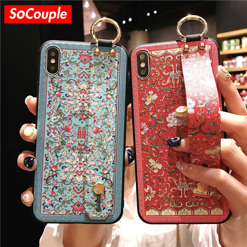 a966db52279b SoCouple Retro Chinese style Wrist Strap Phone Case For iphone 6 6s 7 8 plus  Case For iphone X Xs max XR Flower Soft TPU Case