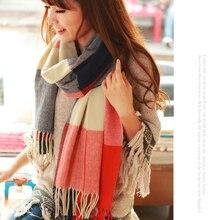 190*50 см, осенне-зимний женский шерстяной клетчатый шарф, женские кашемировые шарфы, широкая решетка, длинная шаль, накидка, одеяло, теплый палантин, Прямая поставка