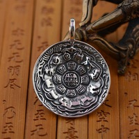 S925 wholesale Sterling Silver Vintage Buddhist culture Jiugong Bagua Pendant