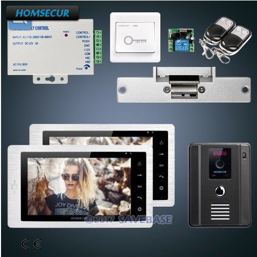 HOMSECUR 7inch Hands-free Video Door Entry Phone Call System With Strike Lock + Power Supply + Remote Controller
