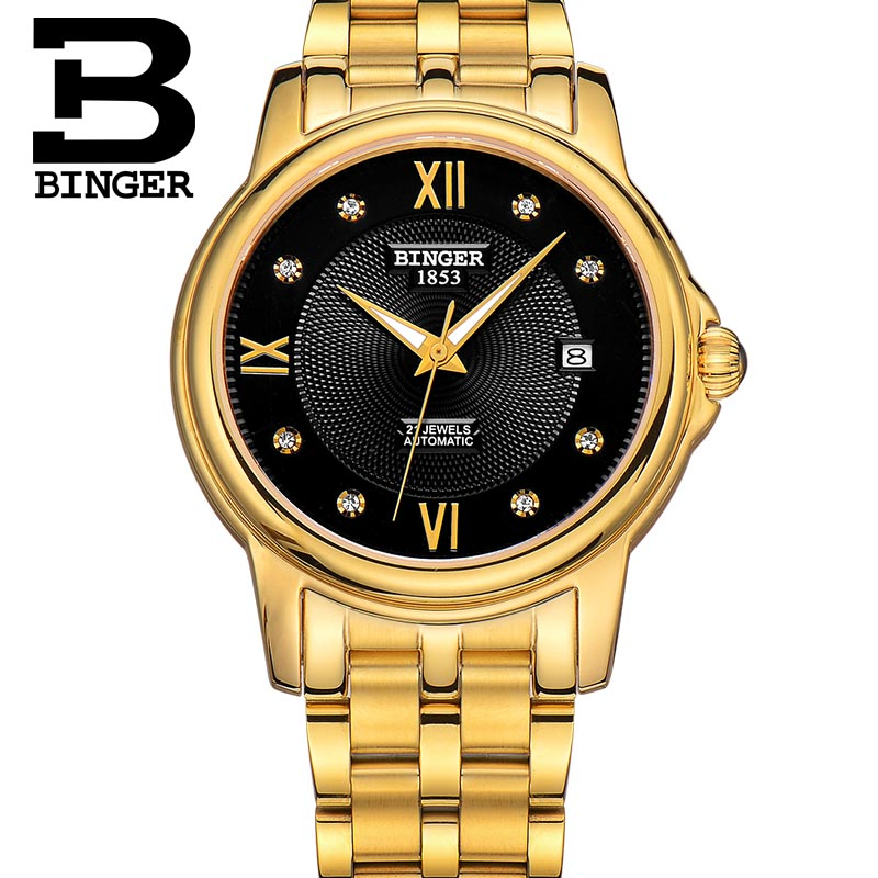 BInger Couple Mechanical Automatic Self-Wind Stainless Steel WristWatch Mens Luxury Brand Waterproof Business Watch B1102G binger couple automatic watch men skeleton mechanical watch for women wristwatch stainless steel strap waterproof watch b 5066m