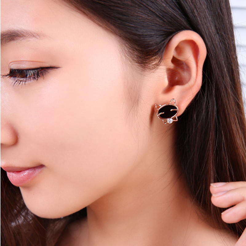 Hot Fashionable On Hot Selling 1Pair Black Smile Cat High-Grade Fine Stud Earrings Trendy Style Special Pattern Chic
