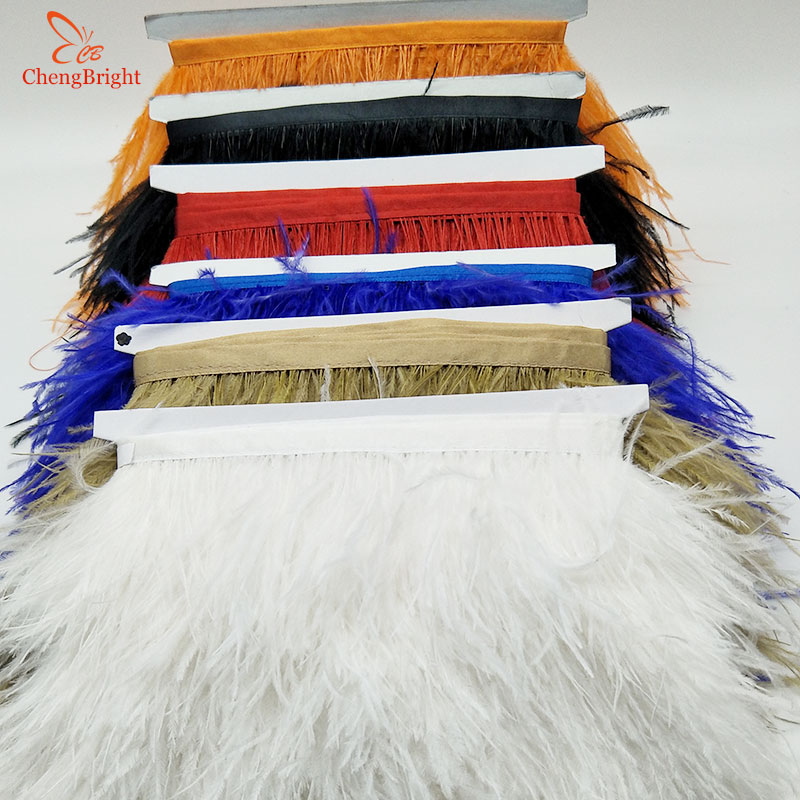 ChengBright 10yards Natural Ostrich Feather Trim Fringe Ribbon For Wedding Decoration Dress/Clothes Accessory Feather Ribbon