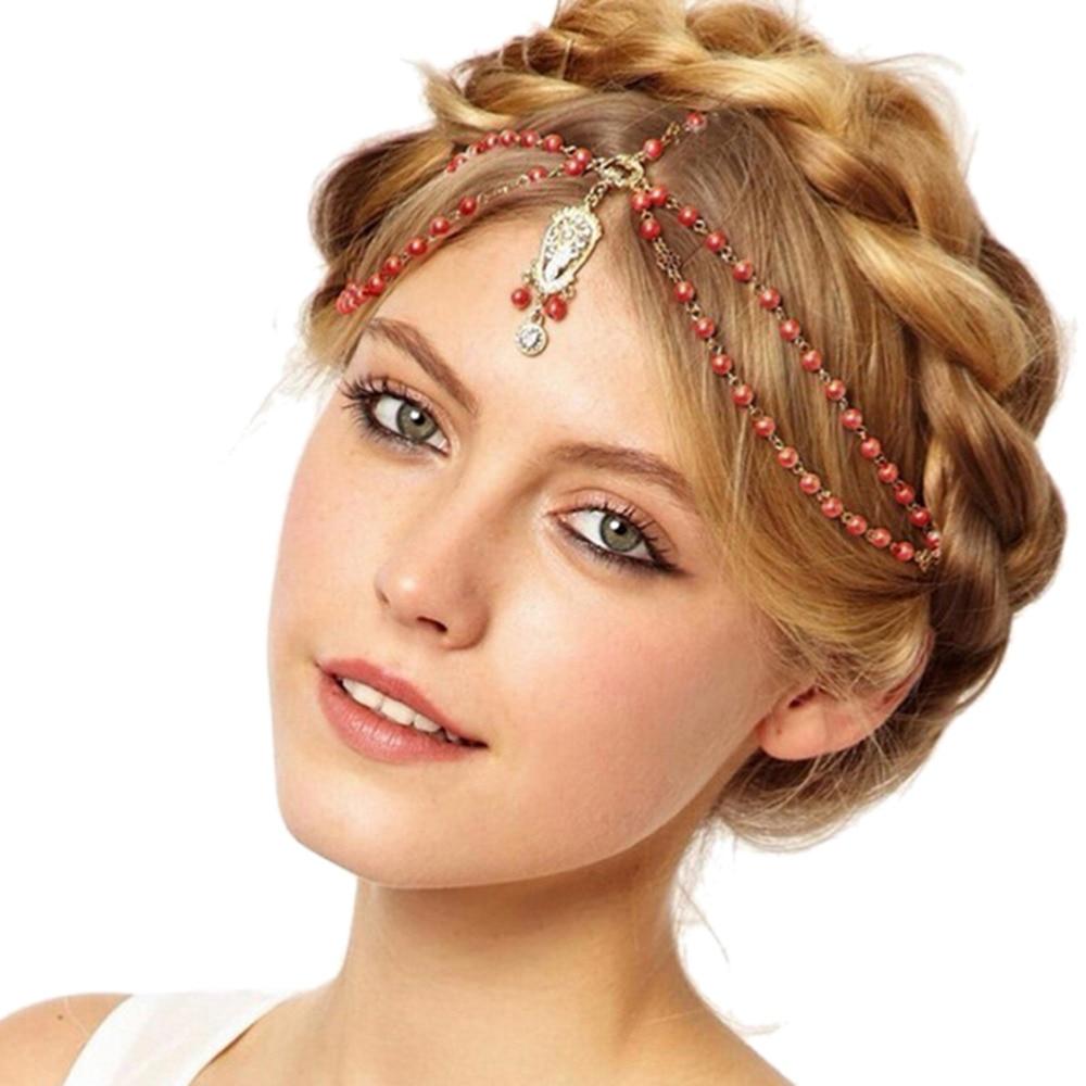 Hoofdbanden Haar Sieraden Indian Boho Kralen Kopstuk Wedding Head Chain Haar Sieraden Bruid Haar Decoratie Vrouwen Wit/rood