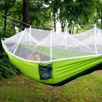 Portable Outdoor Hammock Hanging Bed Nylon Fabric Sleeping Bed + Mosquito Net Tactical Large Load Traveling Camping Hammock 6