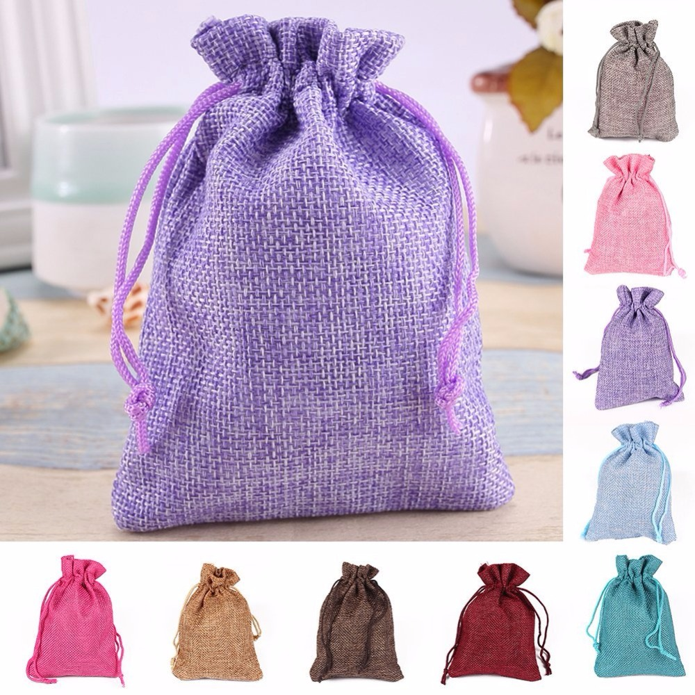 12Pcs 10x14cm Drawstring Bag Wedding Candy Bag Rustic Burlap Pouch Wedding Party Favor, Gift/Candy Bag Decorative Jewelry Boxes