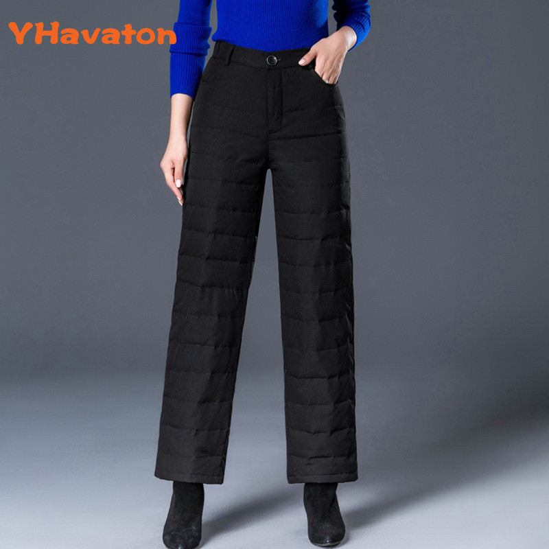 Women   Pants     Capris   High Waist Winter Thick Warm Duck Down Wide Leg   Pants   Women Trousers Black Pantaloon Woman   Pant   Plus Size New