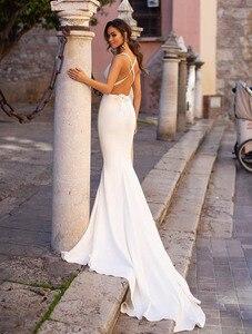Image 2 - Smileven Mermaid Wedding Dress Spandex Sleeveless Sexy Deep V Neck Beach Bride Dresses Train Elegant Wedding Boho Bridal Gowns