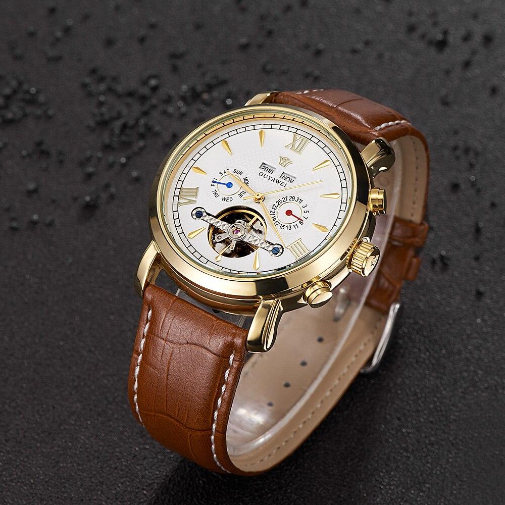 OUYAWEI 2019 Men Watches Automatic Mechanical Luxury Full Calendar Male Clock Fashion Casual Leather Wristwatch Armbanduhren