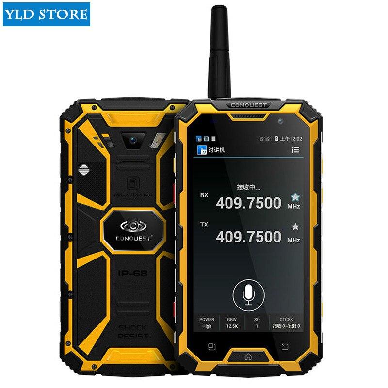 Originale Conquête S8 6000 mAH Batterie Quad Core 5 HD Android 3 GB RAM ip68 Robuste téléphone étanche GPS 4G LTE FDD Talkie walkie