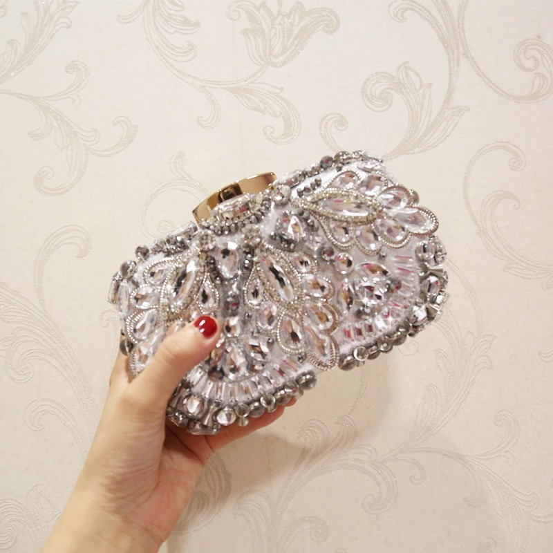 ZURICHOUSE Avondtassen Diamond Rhinestone Beading Wedding Clutch vrouwen Portemonnee Handtassen Portefeuilles Avond Clutch Bag in Top Handle Bags from Luggage Bags