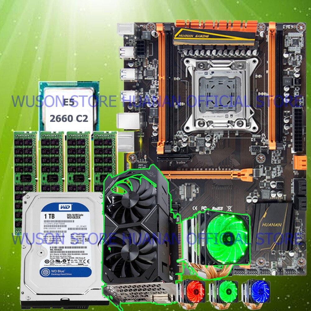 HUANAN ZHI deluxe X79 motherboard com CPU slot M.2 E5 2660 SR0KK CPU RAM cooler 32G (4 * 8G) 1 TB SATA HDD GTX1050Ti 4G placa de vídeo