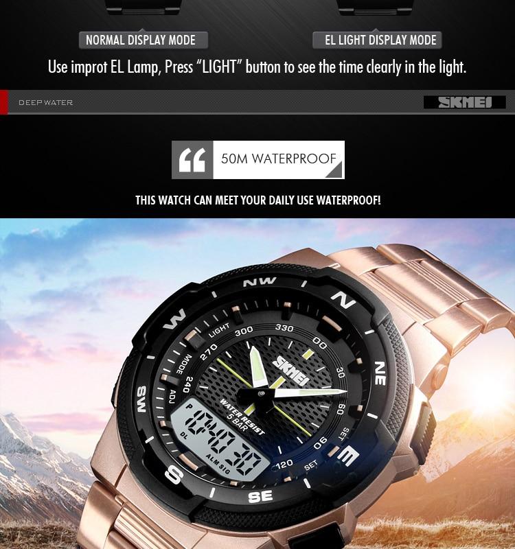 SKMEI 1370 Stainless Steel Waterproof Wrist Watch 9