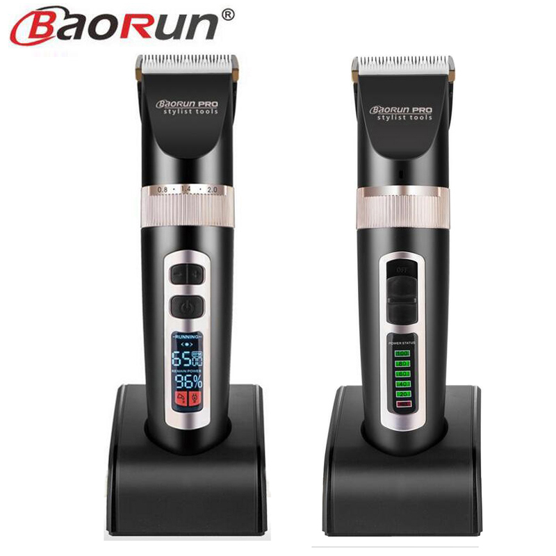 BAORUN A8/A8S Professional Electric Hair Clipper LCD Display Hair Trimmer Ceramic Cutting Machine Lithium Battery 2000mA kiki hair clipper rechargeable professional hair cutter hair trimmer lithium battery ng 888 with lcd display and tool box