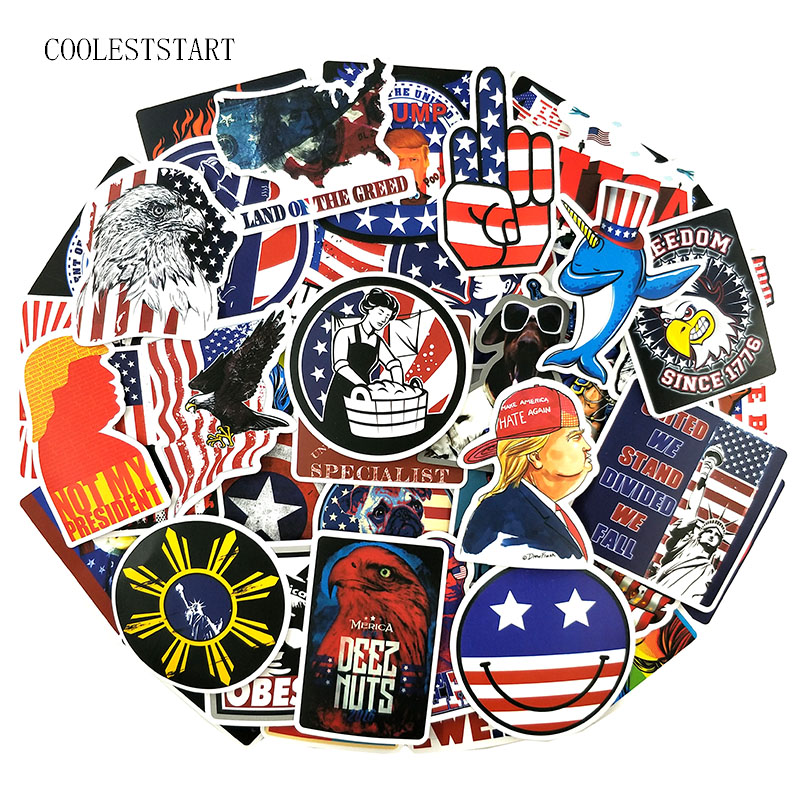 50 Pcs/Pack USA Series Graffiti Stickers American Flag For Laptop Refrigerator Motorcycle Bicycle Suitcase Toys Sticker