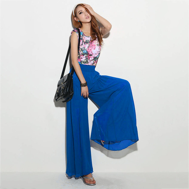 Jampelle Design Women Summer High Waist Chiffon Trousers Solid Color Loose elastic