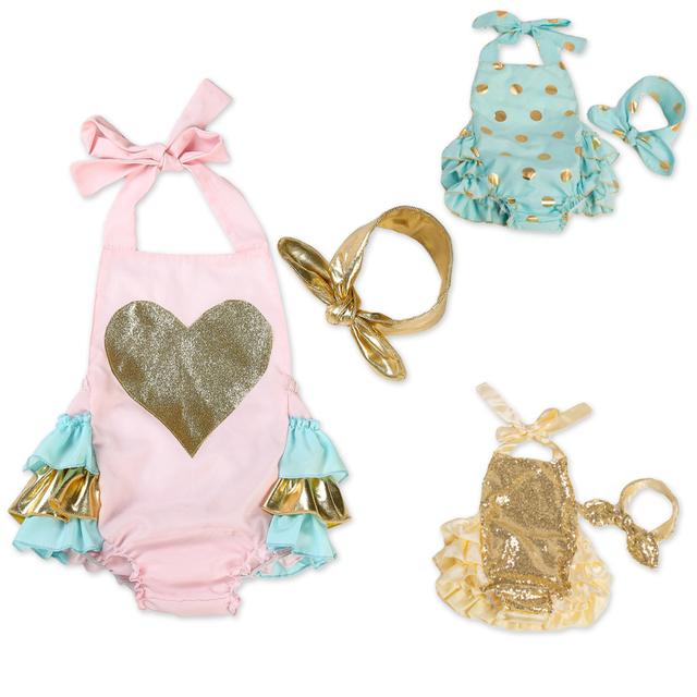 Nueva llegada linda del verano del bebé roupa infantil chica patrón de corazón lentejuelas burbuja mameluco ropa 0-3years disponibles