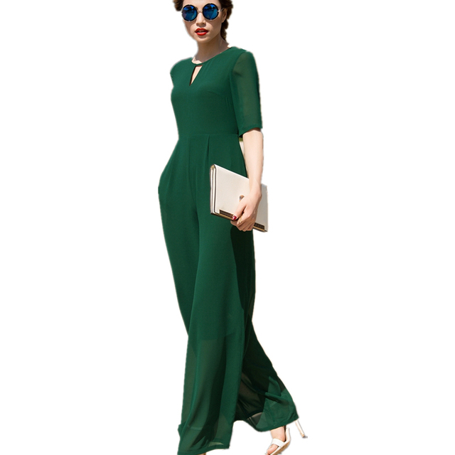 Spring  One Pieces Rompers Womens Short Sleeve Jumpsuits Female Fashion trousers Siamese Ladies Wide Leg trousers Siamese LYL57