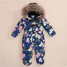 Russia -30 Degrees Girls and Boys Down Jacket Baby Rompers Winter Duck Down Jumpsuit Coats Kids Ski Suit