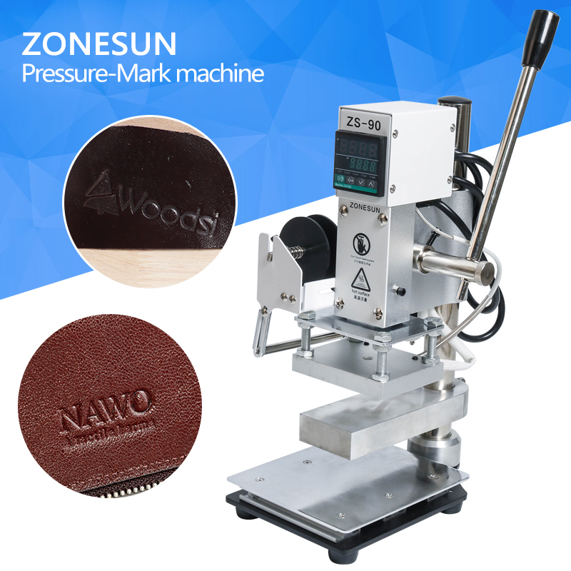 ZONESUN With working plate/scale Hot Foil Stamping Machine Manual Bronzing Machine for shoes PVC leather PU and Paper Logo toauto digital hot foil stamping machine large 10x13cm logo embossing tool manual logo branding pvc card paper printing machine