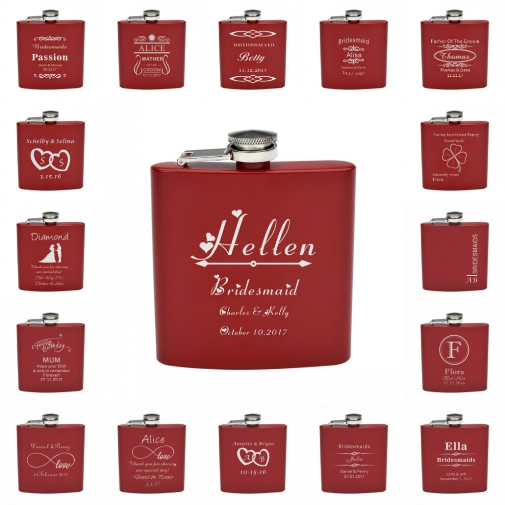 Personalized Engraved 6oz Hip Flask Stainless Steel Wedding