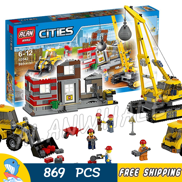 869pcs City Demolition Site Crane Truck Construction Team 02042 Model Building Blocks Children Toys Bricks Compatible With lego 965pcs city police station model building blocks 02020 assemble bricks children toys movie construction set compatible with lego