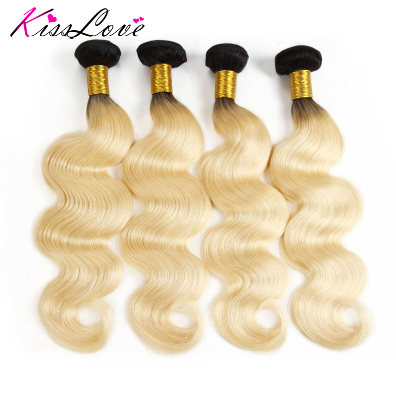 Kiss Love Ombre Bundles With Closure Malaysia Body Wave Hair 1B 613 Color Human Hair 4 Pieces Bundles 100% Human Hair Extension