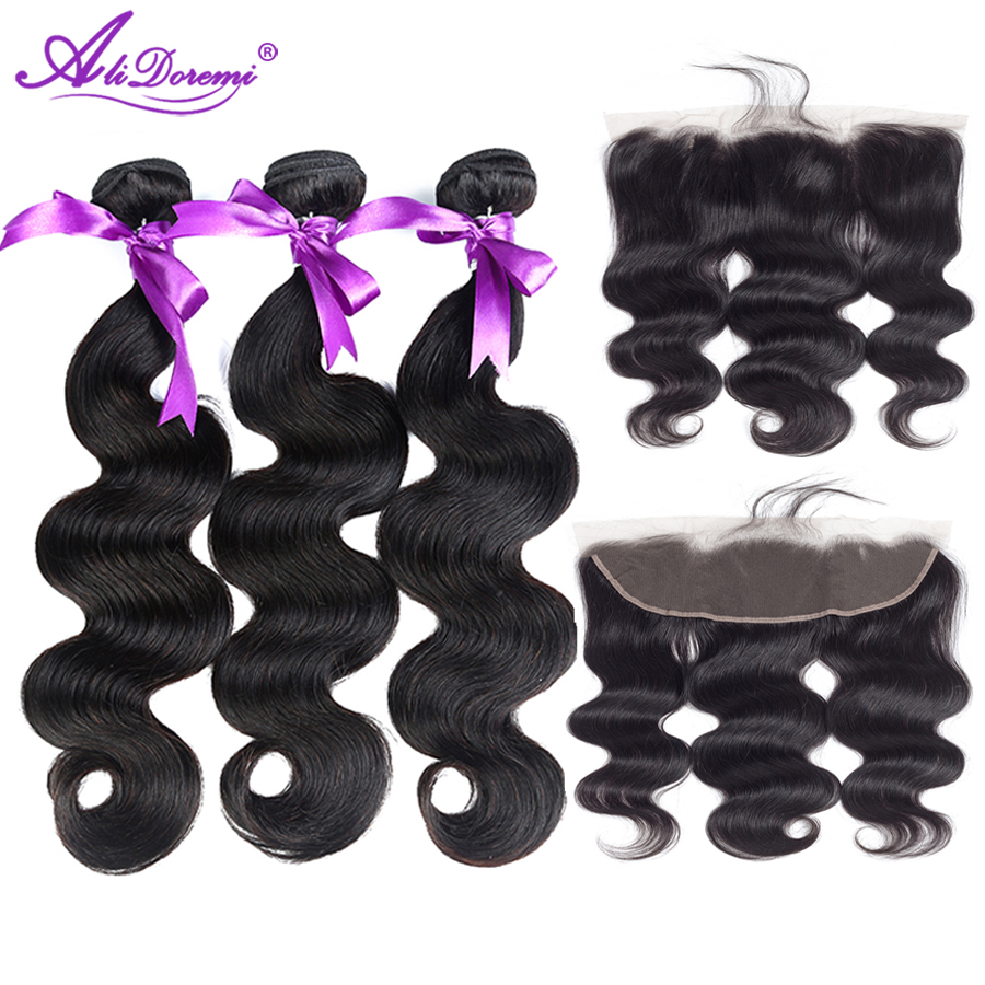 Alidoremi peruvian Body Wave 3 Bundles With Lace Frontal Closure Hair Weave Bundles Non Remy Human