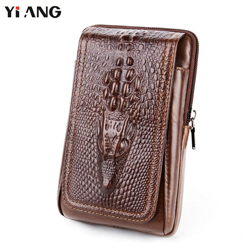 5c4bbbf730f YIANG Men Crocodile Pattern Waist Packs Genuine Leather Cowhide Retro  Mobile Phones Bags Belt Clip Bag Fanny Bag Cigarette Pouch