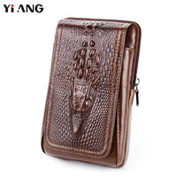 YIANG Men Crocodile Pattern Waist Packs Genuine Leather Cowhide Retro Mobile Phones Bags Belt Clip Bag