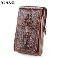 YIANG Men Crocodile Pattern Waist Packs Genuine Leather Cowhide Retro Mobile Phones Bags Belt Clip Bag