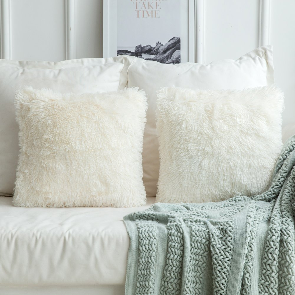 Faux Fur Decorative Pillow.Luxury Faux Fur Throw Pillow Cover Decorative Plush Pillow