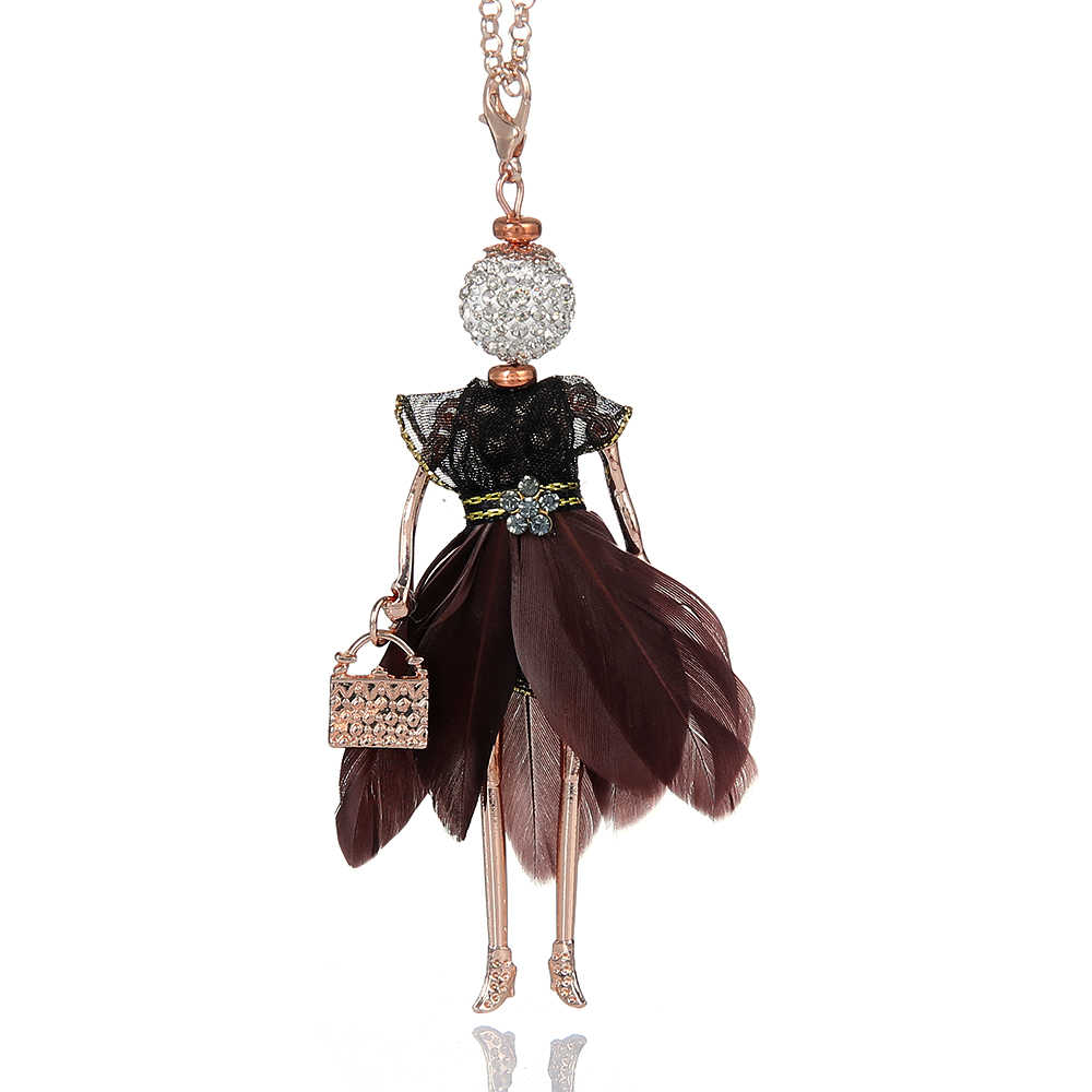 be80363874d8c Statement Feather Doll Necklace Dress Handmade French Doll Pendant 2018  News Alloy Girl Women Flower Fashion Jewelry