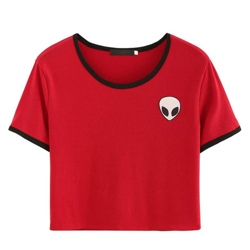 2018 Nueva venta caliente Elegante Casual Crop Top Alien Camiseta de impresión Camiseta de manga corta con estampado suelto