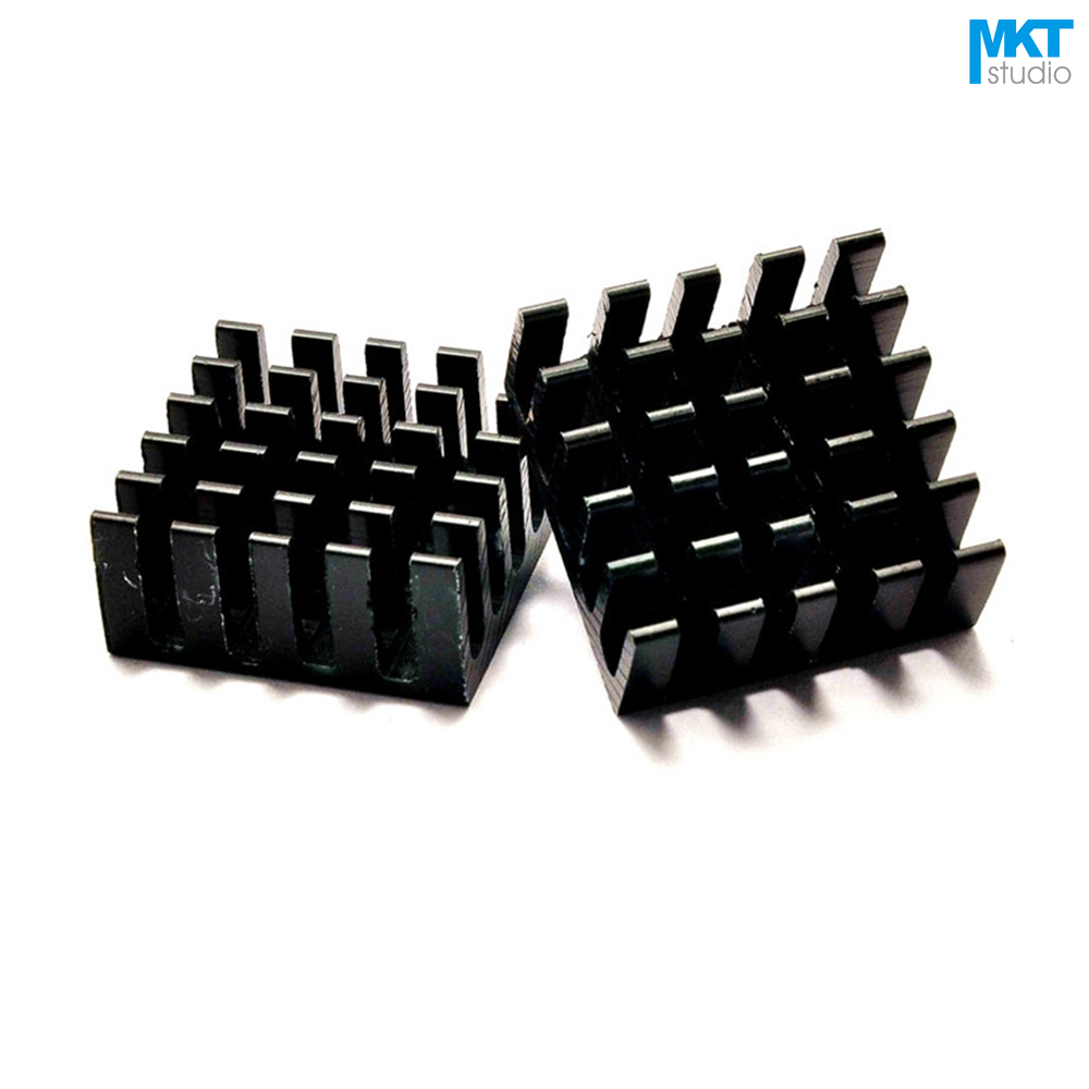 100Pcs Black 22mmx22mmx10mm Pure Aluminum Cooling Fin Radiator Heat Sink