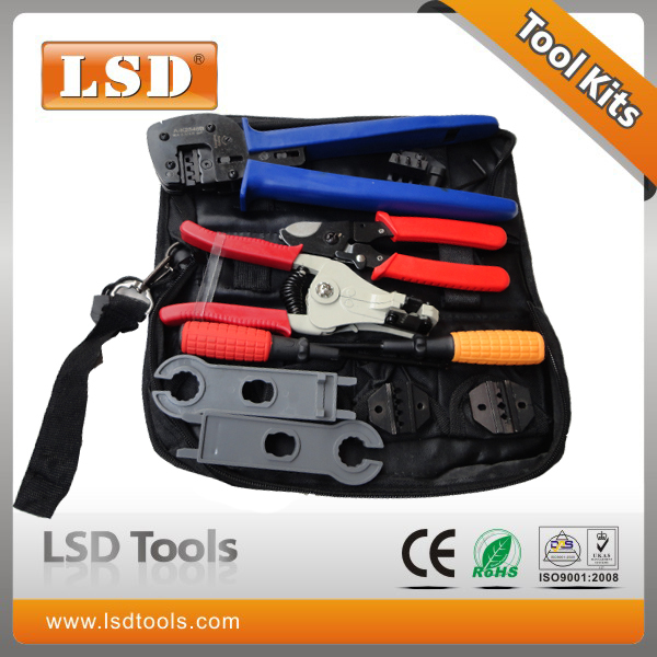 ФОТО A-K2546B-2 Combined Tool Kits with MC4 crimping tool, cable strippers, cable cutter, screwdriver solar tool set fabric tool bag