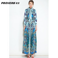 PROVERB Vintage Women's Party Swing Dress peacock Floral Print Stand Long Sleeve Bodycon Boho Maxi Dress vestidos
