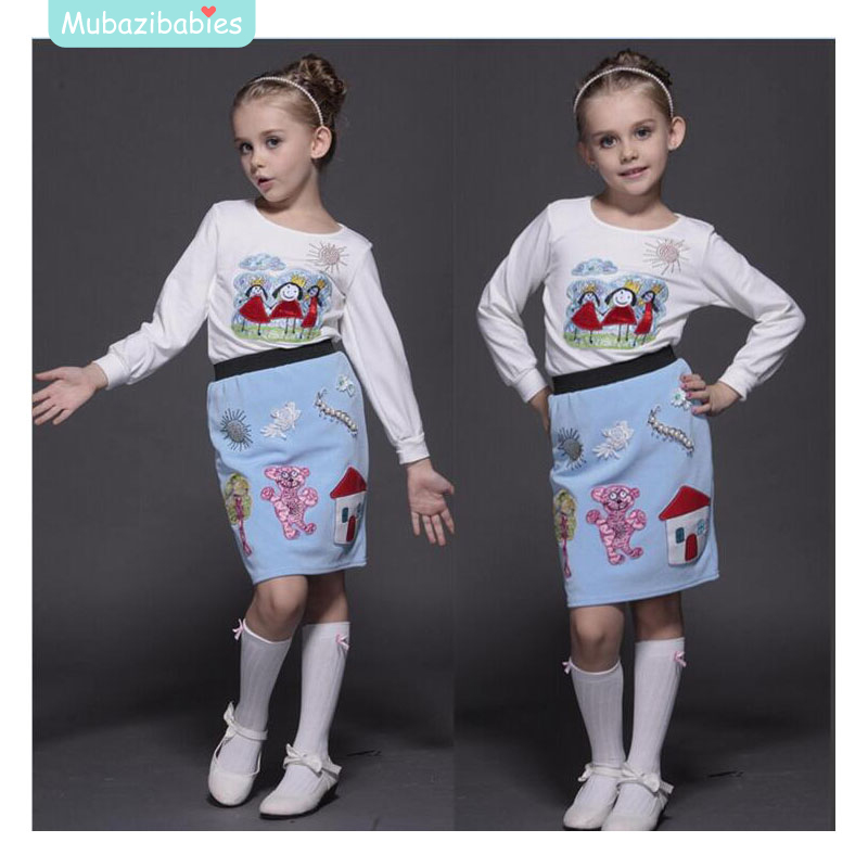 Girls autumn winter skirt suit Cotton T-shirt +hand-beaded embroidery princess skirt + white bow high socks + pearl hair bands