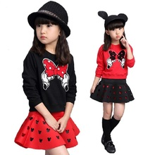 Minnie Baby Girls Sets 10 12 8 4 År Langærmet Teen Girls Spring Summer Tøj Cartoon Casual Kid Outfits Shirt + Nederdel