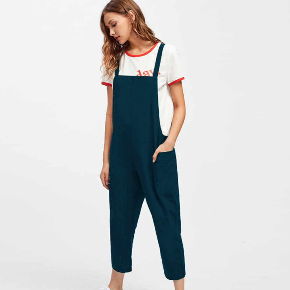 f549d1169b1c ... Telotuny Women Pregnant Jumpsuits Schooldays style Cotton Women Casual  Dungarees Loose Cotton Pockets Rompers Jumpsuit JU ...