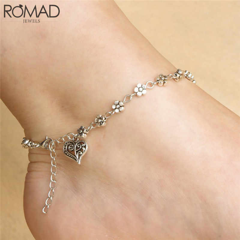 GS 2018 New Fashion Foot Chain Tibetan Silver Hollow Plum Flowers Heart-Shaped Anklet Women Foot Ornament Heart Heart Anklet R4