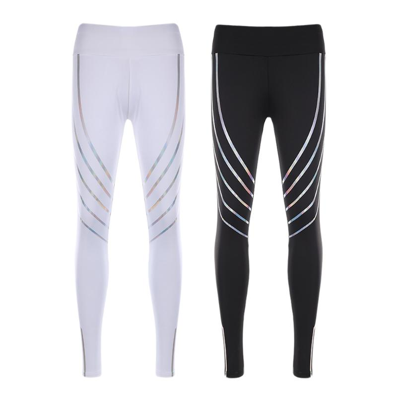 Women Running Pants 2018 New Gym Fitness Yoga Leggings Pant Reflective Nightlight Tights For Women Fitness Yoga Pants