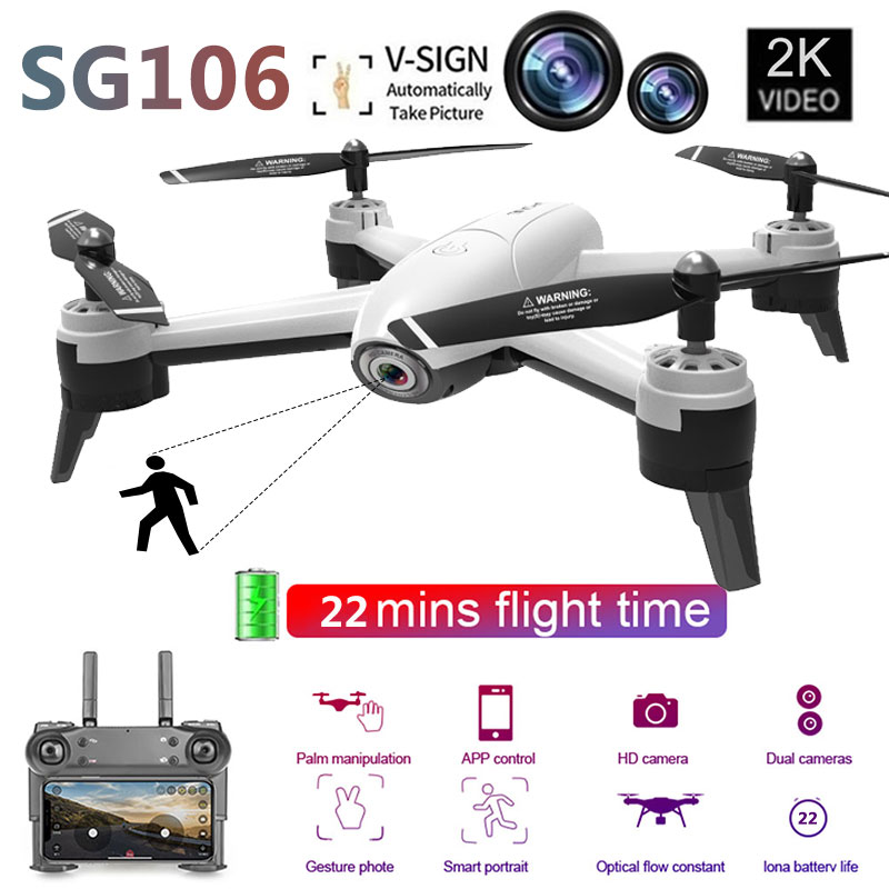 SG106 WiFi FPV RC Drone 4K Camera 22 Minutes Flying 2K Dual Camera Gesture Photo Optical Positioning Quadcopter HelicopterSG106 WiFi FPV RC Drone 4K Camera 22 Minutes Flying 2K Dual Camera Gesture Photo Optical Positioning Quadcopter Helicopter