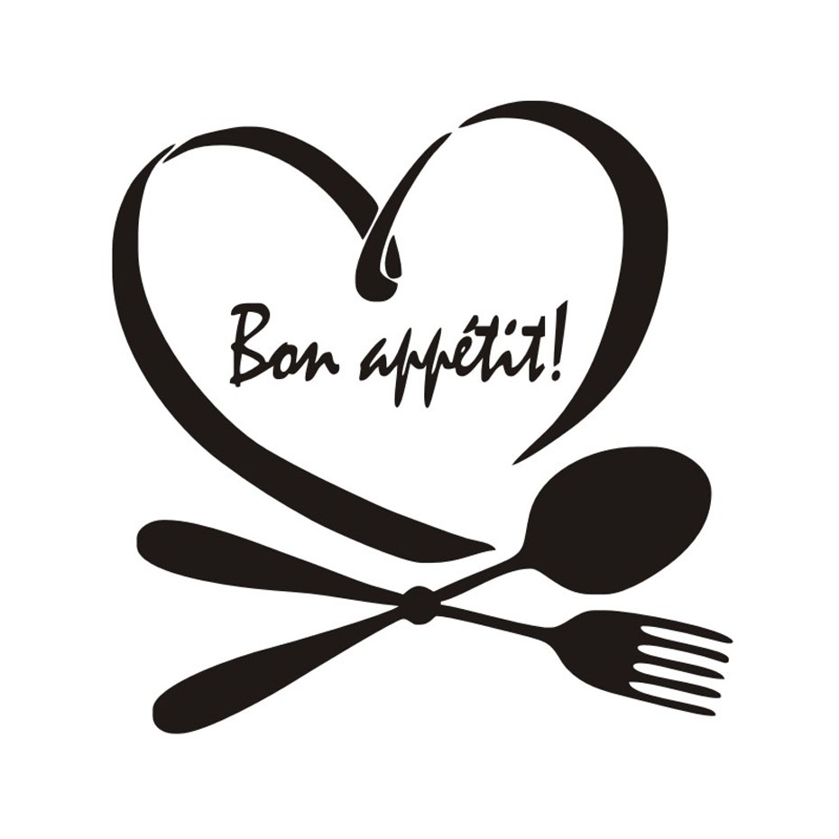 Bon Appetit Wall Sticker For Kitchen Wall Decor Vinyl Wall Decals Dining Room Home Decoration