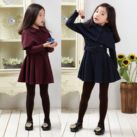 New Spring and Autumn Winter 2017 Child Girls Shawls Long Sleeve Dress Two piece Dust Coat Girls Dress