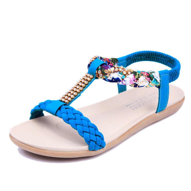 Zomer Vrouwen Sandalen 2019 Vrouwen Schoenen Platte Sandalen Vrouwen Strass Dames Schoenen Mode Strand Sandalias Plus Size Vrouwelijke Schoenen