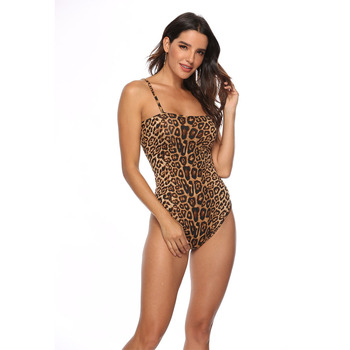 Snake Leopard Skin Print Cami Bodysuit Casual Women's Bodysuits