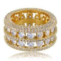 Hip hop Rock Men's Diamond Ring Double Rows Hollow 18K Gold Gemstone Zirconium Ring Deals Amethyst Anillos Bagues Pour Femme